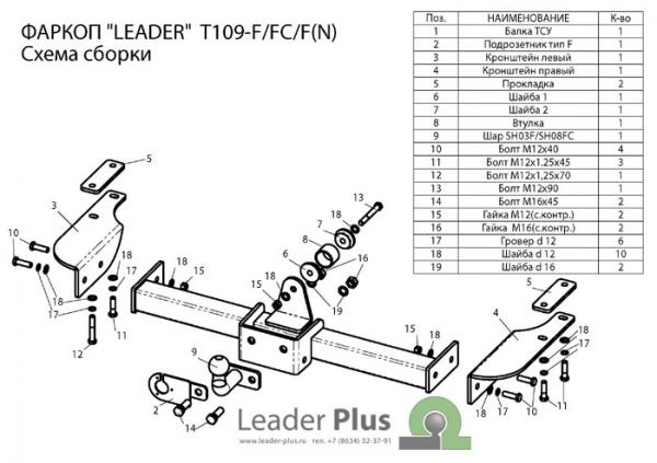 Купить Фаркоп для автомобиля TOYOTA LAND CRUISER PRADO (90) (J9) 1996-2002 (5 дверей) (C НЕРЖ. ПЛАСТИНОЙ) T109-F(N)