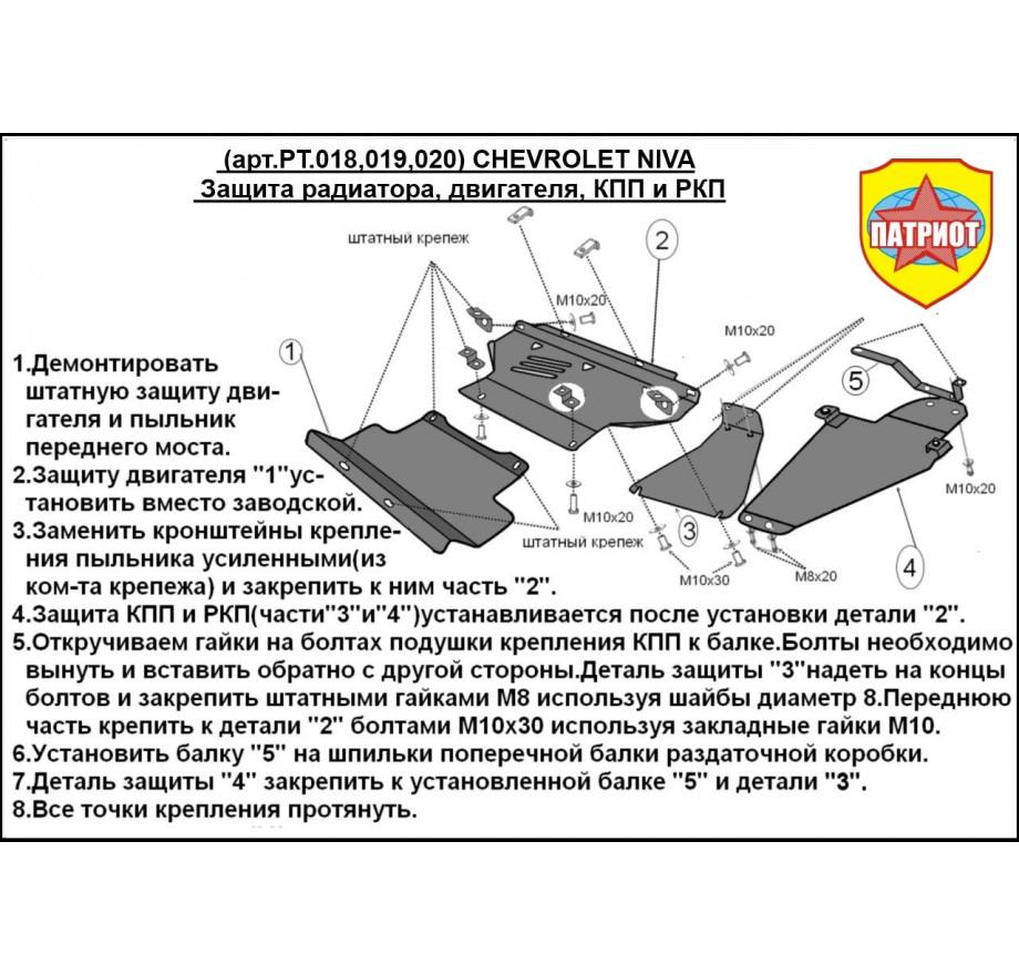 Купить CHEVROLET NIVA (2002-...) - Защита двигателя 2мм