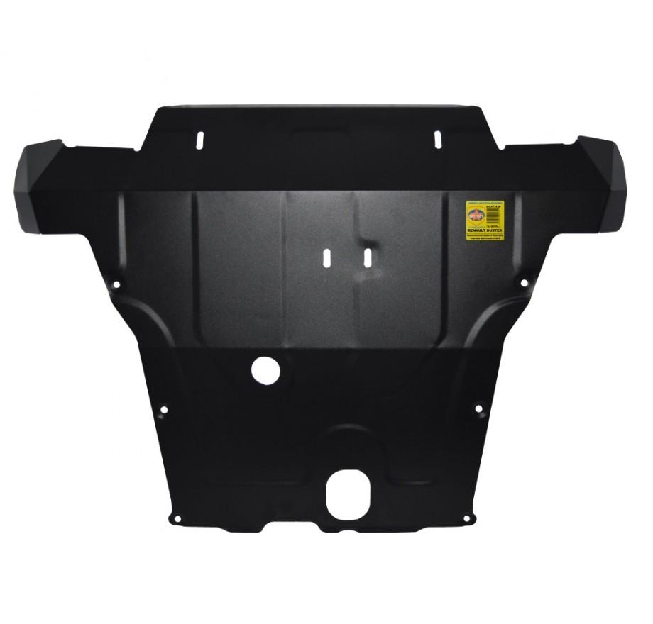 """Купить RENAULT DUSTER (сталь; 2015-...)- """"Увеличенная"""" защита переднего бампера, картера двигателя и КПП"""
